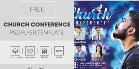 Free Church Conference PSD Flyer Template
