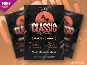 Free Classic Music Party Flyer PSD Template