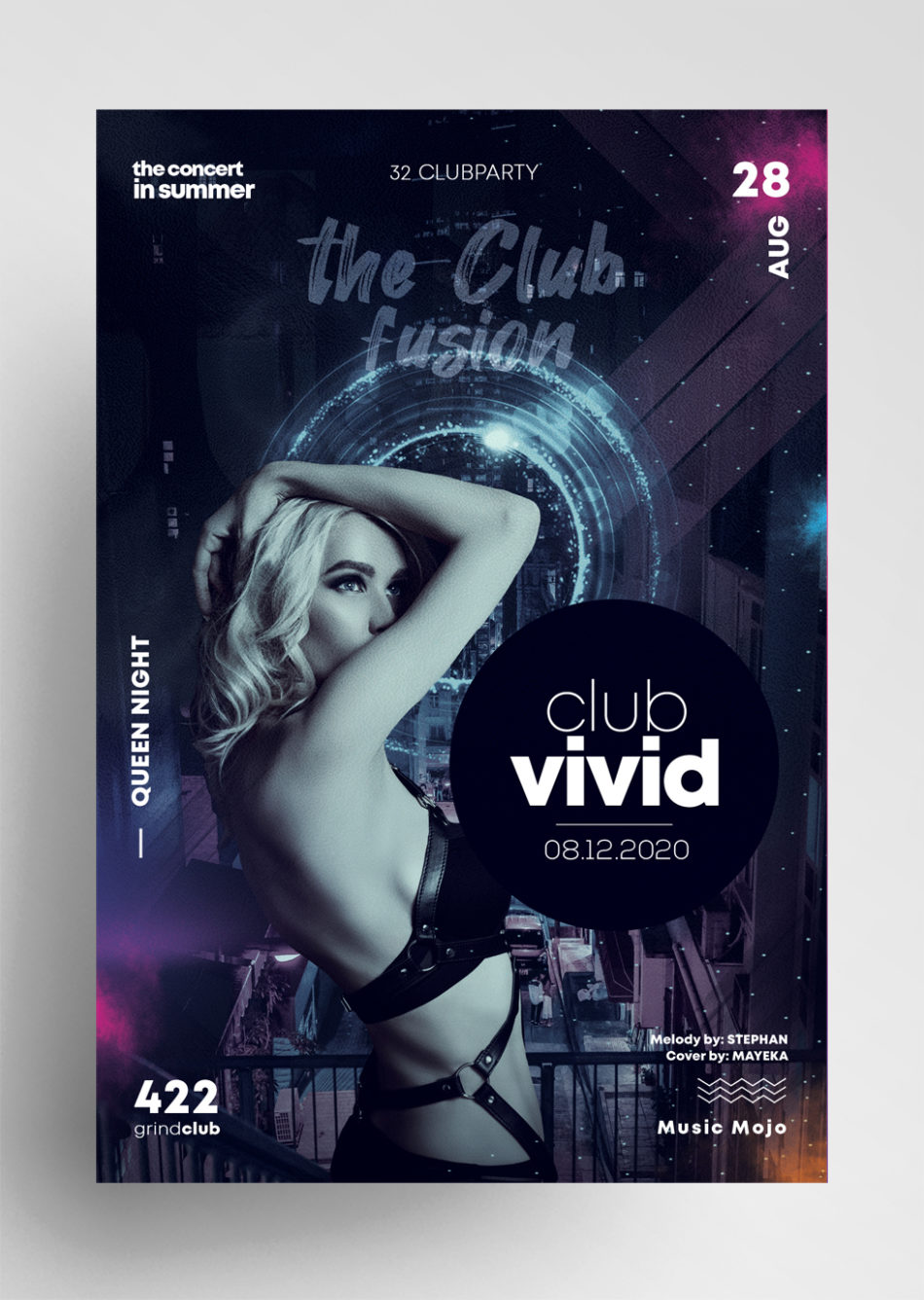 Free Club Vivid Flyer Template in PSD