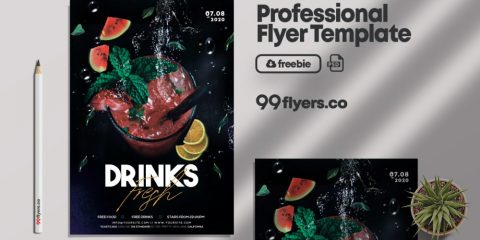 Free Cocktails Night Party Flyer Template in PSD