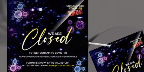 Free CoronaVirus Closed Club flyer Template in PSD