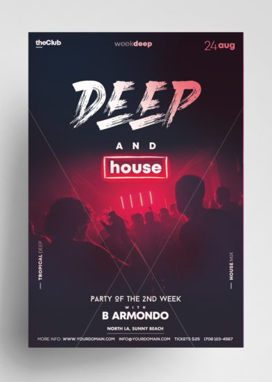 Free Deep House Party Flyer Template in PSD