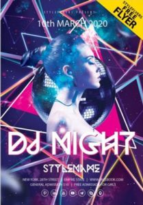 Free Dj Night Party Flyer Template in PSD