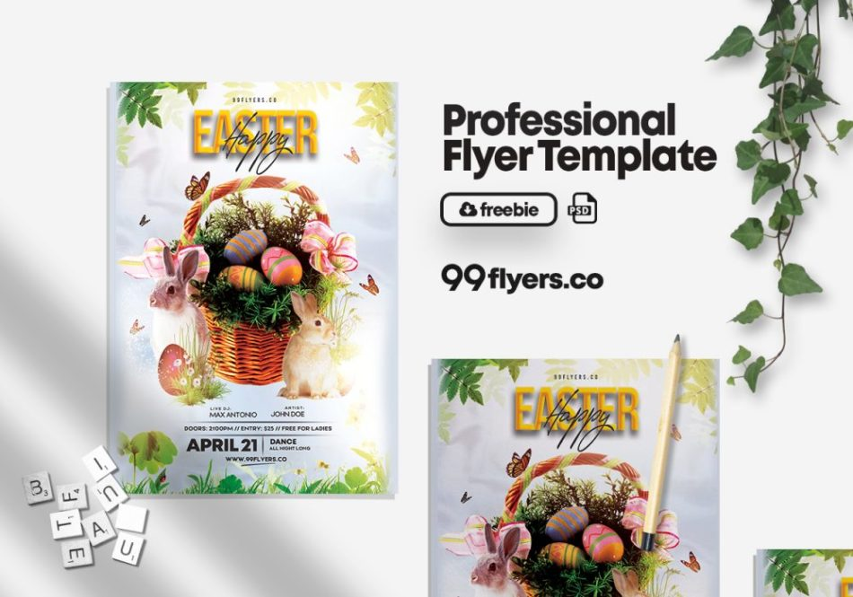 Free Easter Egg Party Flyer Template in PSD