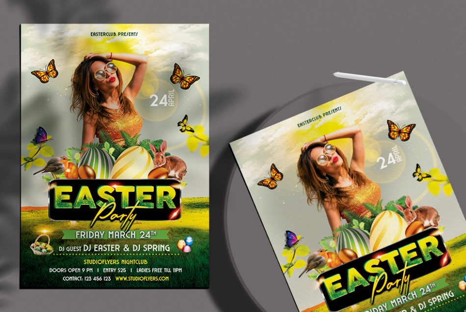 Free Easter Party Flyer Template in PSD