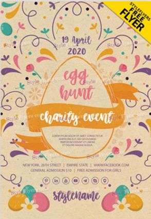 Free Egg Hunt Charity Flyer Template in PSD