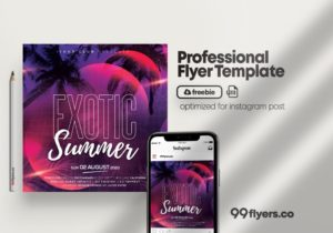 Free Exotic Summer Party Instagram Post Template in PSD