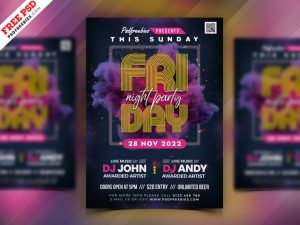 Free Friday Night Club Party Flyer PSD