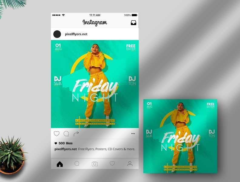 Free Friday Night Instagram Template in PSD