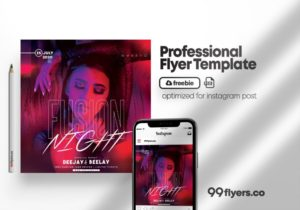 Free Fusion Night Flyer Template in PSD
