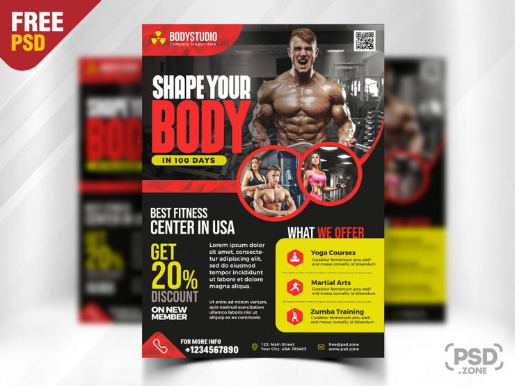 Free Gym Fitness - PSD Flyer Template