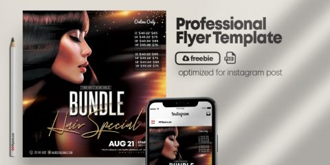 Free Hair Bundles Flyer Template in PSD