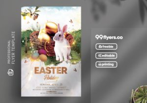 Free Happy Easter Flyer Template in PSD