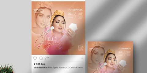 Free Hello Gorgeous Instagram Post Template in PSD