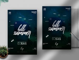 Free Hello Summer Flyer Template in PSD