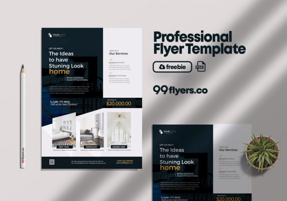 Free Interior Design & Furniture Flyer Template in PSD