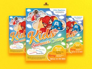 Free Kids Summer Camp Flyer Template in PSD