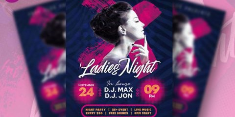 Free Ladies Night Club Party Flyer Template in PSD
