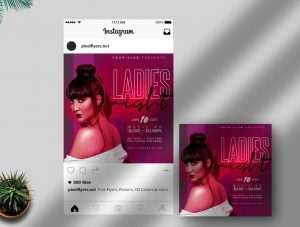 Free Ladies Night Party Instagram Template in PSD