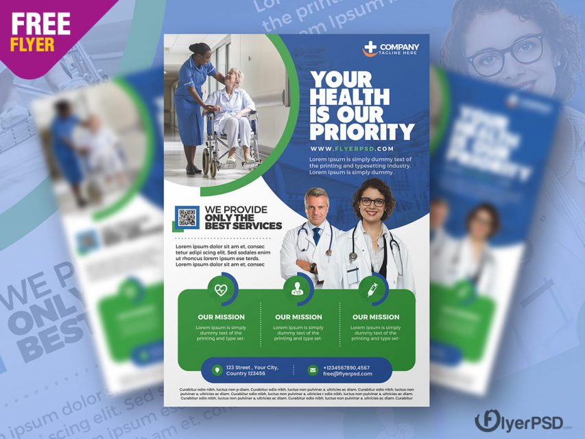 Free Medical Care and Hospital Flyer Template in PSD