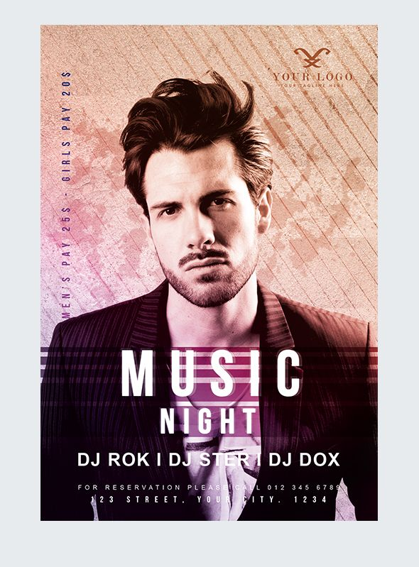 Free Music Nights Flyer Template in PSD