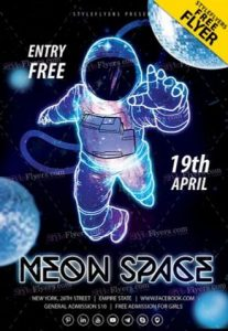 Free Neon Space Flyer Template in PSD