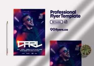 Free Night Club Event Party Flyer PSD Template