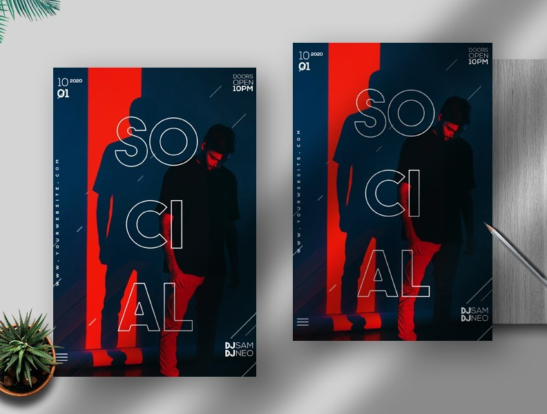 Free Social Flyer Template in PSD