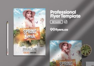 Free Spring Break Event Flyer Template in PSD