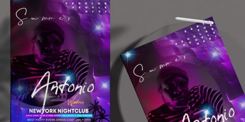 Free Summer Club Night Flyer Template in PSD