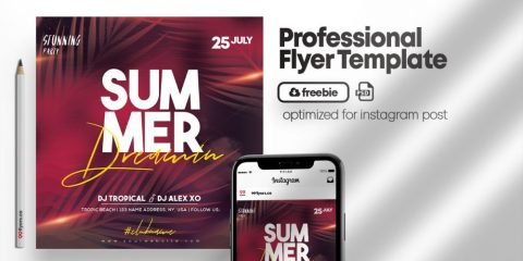 Free Summer Dreaming Party Flyer Template in PSD