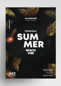 Free Summer Gold Flyer Template in PSD