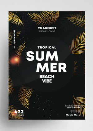 Download Summer Gold PSD Flyer Template for free. This tropical summer flyer is editable and suitable for any type of sunset party, summer party, dj, tropical vibe and other.