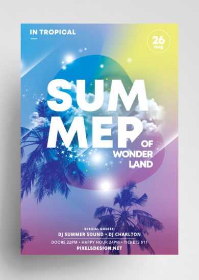 Free Summer Land Flyer Template in PSD