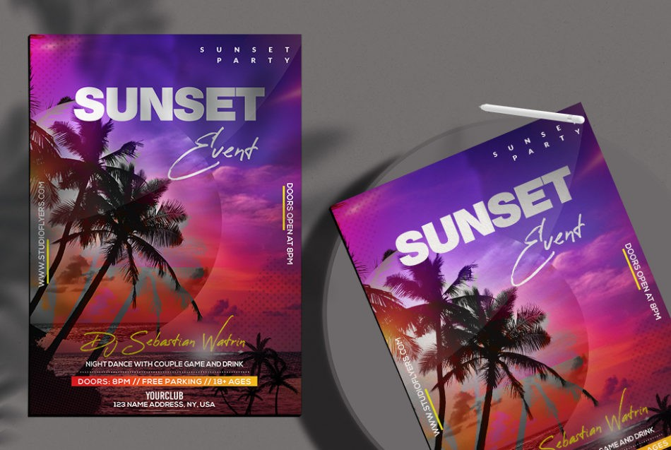 Free Sunset Event Flyer Template in PSD