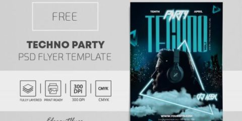Free Techno Party PSD Flyer Template