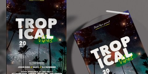 Free Tropical Vibes Flyer Template in PSD
