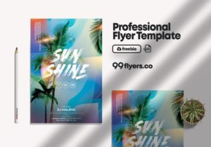 Free Tropical Vibes Flyer Template vol3 in PSD