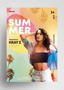 Free Vibe Sound Tropical Flyer Template in PSD