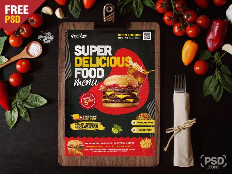 Fresh Food – Restaurant Free PSD Flyer Template