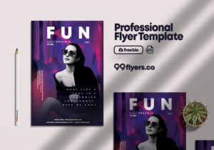 Fun Club Party PSD Flyer Template for Free