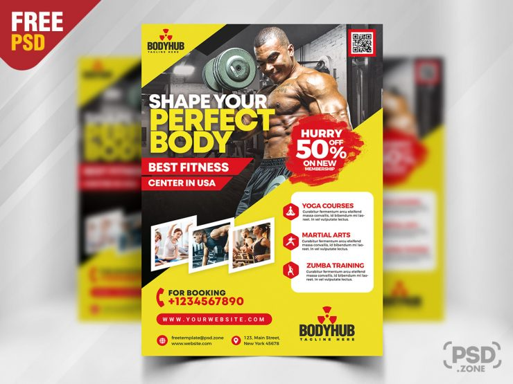 Gym Fitness - Free Flyer PSD Template