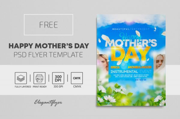 Happy Mother Day PSD Flyer Template for Free