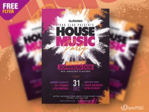 House Party Free PSD Flyer Template