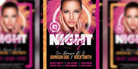 Music Party Flyer PSD Template for Free