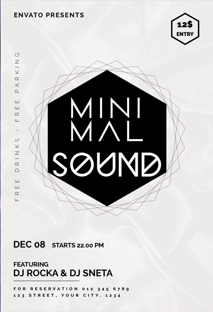 Neon Music Flyer – Free PSD Template