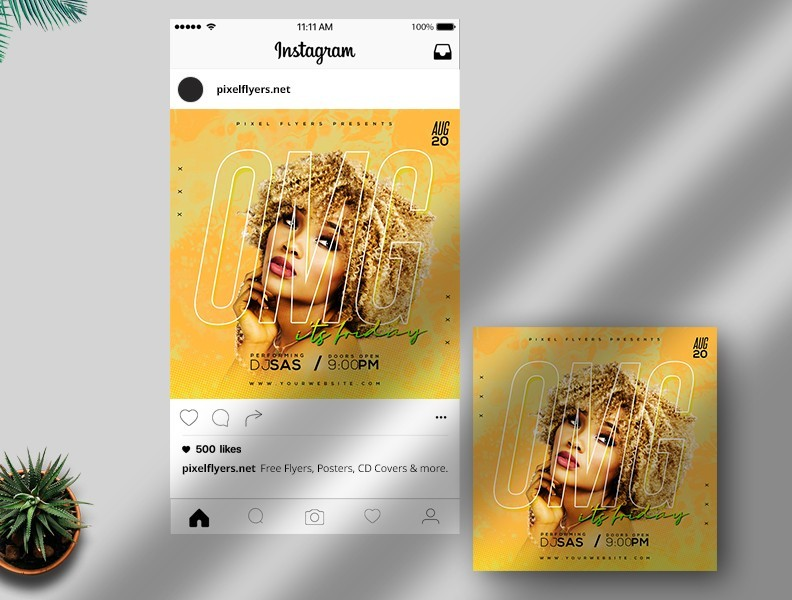 Omg It's Friday Instagram Post PSD Template for Free