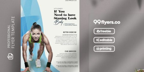 Sport Fitness Flyer PSD Template for Free