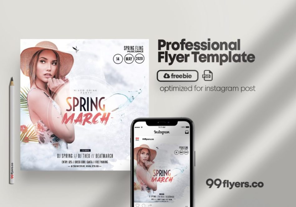 Spring Begins Free PSD Flyer Template