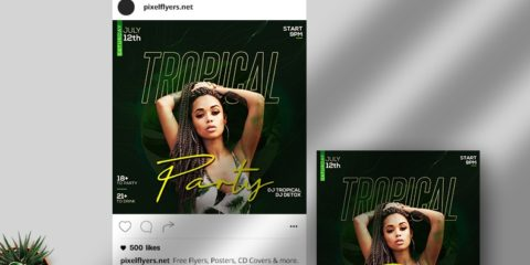 Free Tropical Party Instagram Post Template in PSD